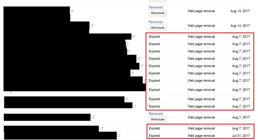 Google Remove URLs Status Expired In Google Search Console